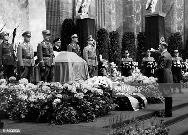 Lutze Viktor Officer SAcommander Germany*28121890 Adolf Hitler at the memorial ceremony /state funeral for Lutze in the Neue Reichskanzlei...