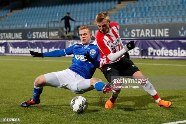 Luuk Brouwers of FC Den Bosch Albert Gudmundsson of PSV U23 during the Dutch Jupiler League match between PSV U23 v FC Den Bosch at the De Herdgang...
