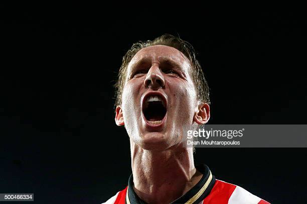 Luuk de Jong celebrates the goal from team mate Davy Propper of PSV during the group B UEFA Champions League match between PSV Eindhoven and CSKA...