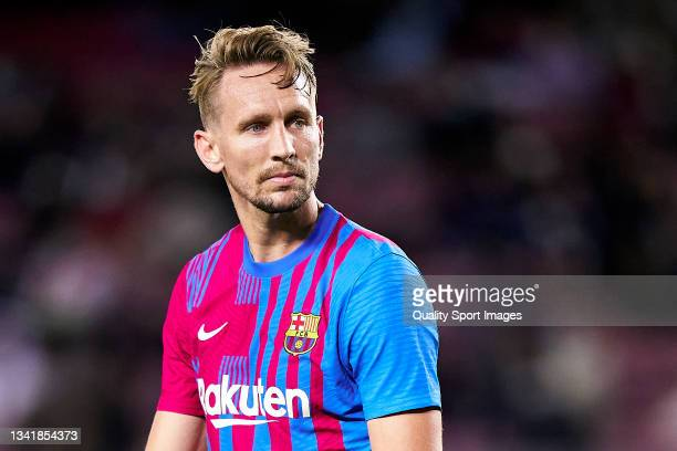 Luuk De Jong of FC Barcelona looks on during the La Liga Santander match between FC Barcelona and Granada CF at Camp Nou on September 20, 2021 in...