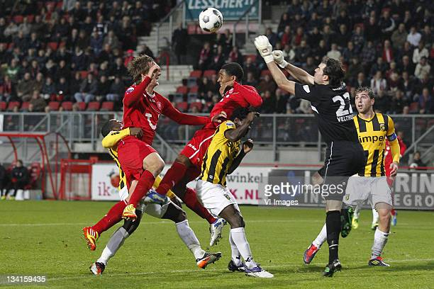 Luuk de Jong of FC Twente Leroy Fer of FC Twente Anthony Annan of Vitesse goalkeeper Piet Velthuizen of Vitesse and Guram Kashia of Vitesse in action...