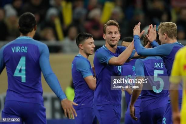Luuk de Jong of Holland celebrate 03 with Virigl van Dijk of Holland Matthijs de Ligt of Holland during the International Friendly match between...