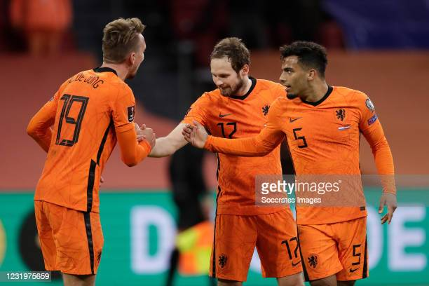 Luuk de Jong of Holland celebrates 2-0 with Daley Blind of Holland, Owen Wijndal of Holland during the World Cup Qualifier match between Holland v...