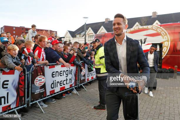 Luuk de Jong of PSV arrives with the players bus during the Dutch Eredivisie match between PSV v FC Emmen at the Philips Stadium on October 20 2018...