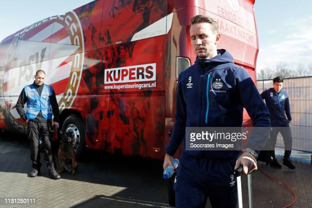 Luuk de Jong of PSV arrives with the players bus during the Dutch Eredivisie match between VVVvVenlo PSV at the Seacon Stadium De Koel on March 17...