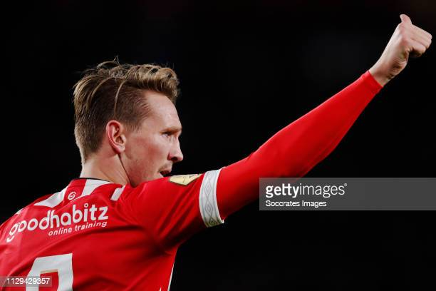Luuk de Jong of PSV celebrates 10 during the Dutch Eredivisie match between PSV v NAC Breda at the Philips Stadium on March 9 2019 in Eindhoven...