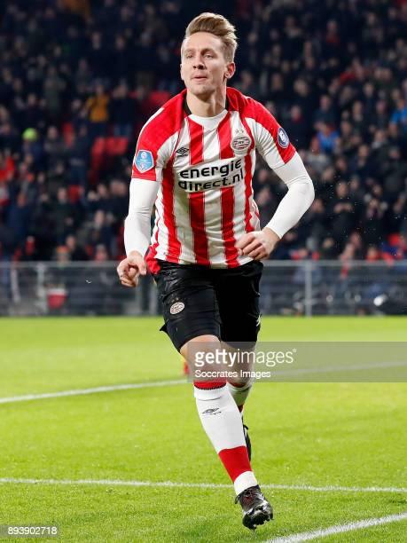 Luuk de Jong of PSV celebrates 10 during the Dutch Eredivisie match between PSV v ADO Den Haag at the Philips Stadium on December 16 2017 in...