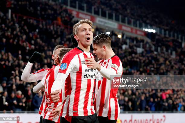 Luuk de Jong of PSV celebrates 10 with Marco van Ginkel of PSV Santiago Arias of PSV Bart Ramselaar of PSV during the Dutch Eredivisie match between...