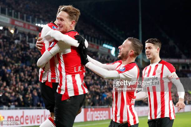 Luuk de Jong of PSV celebrates 10 with Santiago Arias of PSV Bart Ramselaar of PSV Marco van Ginkel of PSV during the Dutch Eredivisie match between...
