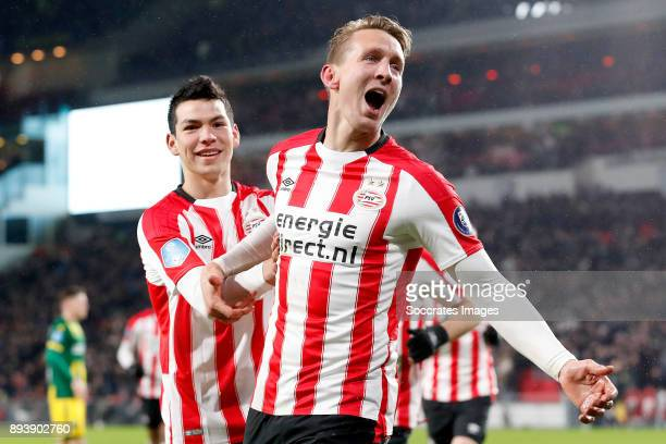 Luuk de Jong of PSV celebrates 20 with Hirving Lozano of PSV during the Dutch Eredivisie match between PSV v ADO Den Haag at the Philips Stadium on...