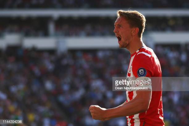 Luuk de Jong of PSV celebrates scoring his teams second goal of the game during the Eredivisie match between PSV and ADO Den Haag at Philips Stadion...