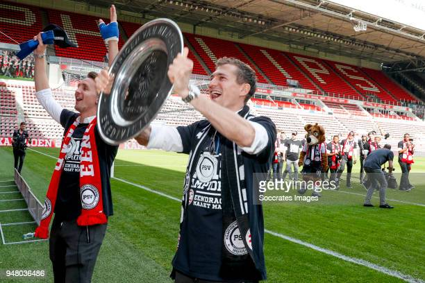 Luuk de Jong of PSV Daniel Schwaab of PSV Celebrate the championship during the PSV champions parade at the City of Eindhoven on April 16 2018 in...