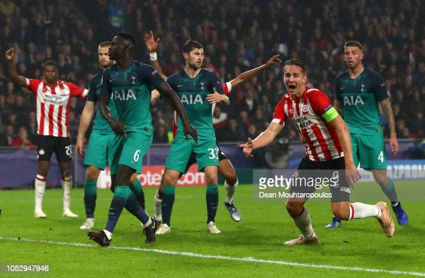 Luuk de Jong of PSV Eindhoven celebrates after scoring his team's second goal during the Group B match of the UEFA Champions League between PSV and...
