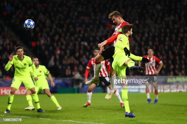 Luuk de Jong of PSV Eindhoven scores his sides first goal during the UEFA Champions League Group B match between PSV Eindhoven and FC Barcelona at...