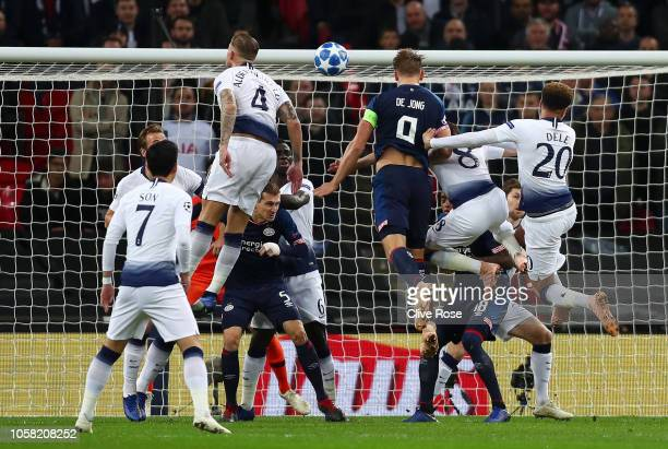 Luuk de Jong of PSV Eindhoven scores his team's first goal during the Group B match of the UEFA Champions League between Tottenham Hotspur and PSV at...