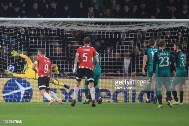 Luuk de Jong of PSV Eindhoven scores their 2nd goal during the Group B match of the UEFA Champions League between PSV and Tottenham Hotspur at...