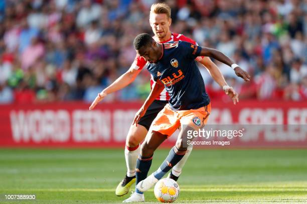 Luuk de Jong of PSV Geoffrey Kondogbia of Valencia CF during the Club Friendly match between PSV v Valencia at the Philips Stadium on July 28 2018 in...