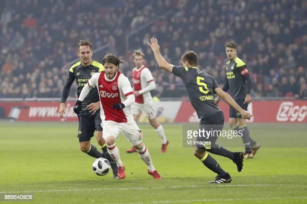 Luuk de Jong of PSV Lasse Schone of Ajax Frenkie de Jong of Ajax Daniel Schwaab of PSV Marco van Ginkel of PSV during the Dutch Eredivisie match...