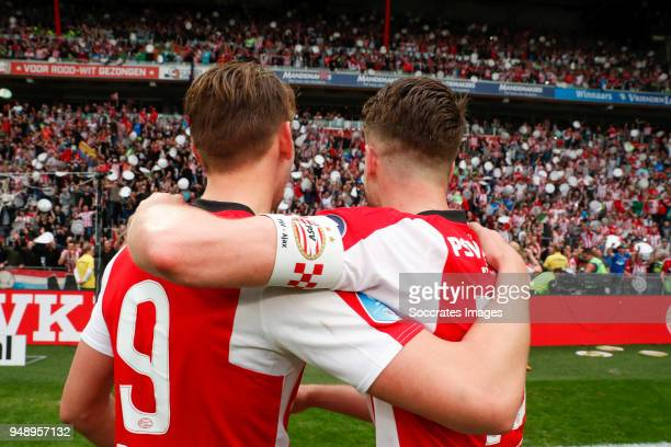 Luuk de Jong of PSV Marco van Ginkel of PSV celebrates the championship during the PSV trophy celebration at the Philips Stadium on April 15 2018 in...