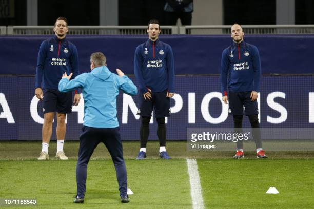 Luuk de Jong of PSV Nick Viergever of PSV Jorrit Hendrix of PSV during a training session prior to the UEFA Champions League group B match between...