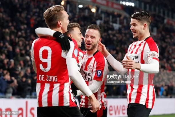Luuk de Jong of PSV Santiago Arias of PSV Bart Ramselaar of PSV Marco van Ginkel of PSV during the Dutch Eredivisie match between PSV v ADO Den Haag...