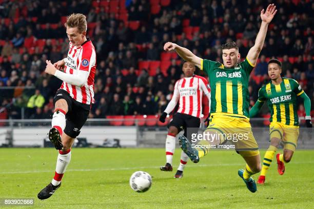 Luuk de Jong of PSV scores the first goal to make it 10 during the Dutch Eredivisie match between PSV v ADO Den Haag at the Philips Stadium on...