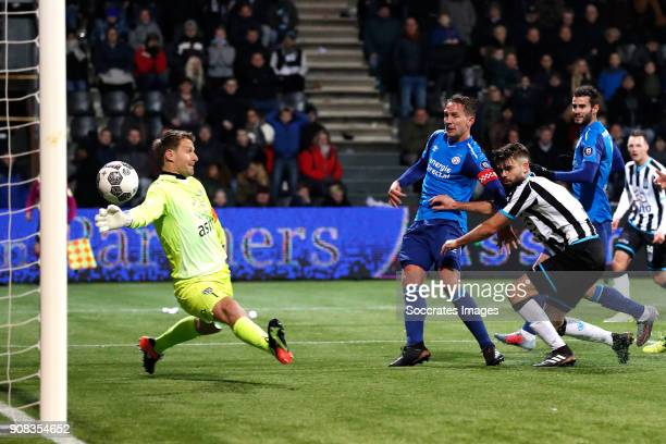 Luuk de Jong of PSV scores the third goal to make it 12 during the Dutch Eredivisie match between Heracles Almelo v PSV at the Polman Stadium on...