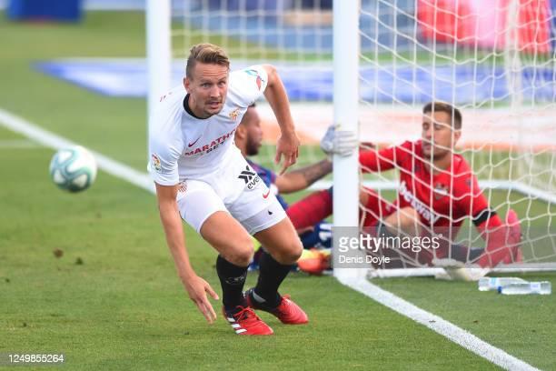 Luuk de Jong of Sevilla celebrates scoring to make it 1-0 during the Liga match between Levante UD and Sevilla FC at Estadio Camilo Cano on June 15,...