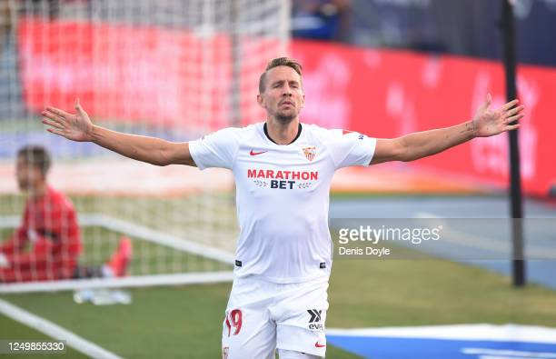 Luuk de Jong of Sevilla celebrates scoring to make it 10 during the Liga match between Levante UD and Sevilla FC at Estadio Camilo Cano on June 15...