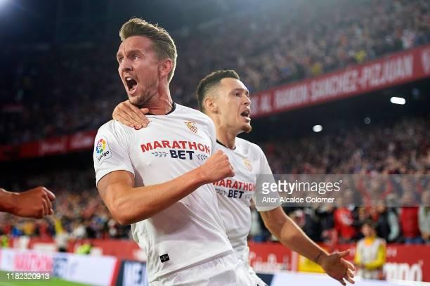 Luuk de Jong of Sevilla FC celebrates after scoring goal during the Liga match between Sevilla FC and Levante UD at Estadio Ramon Sanchez Pizjuan on...