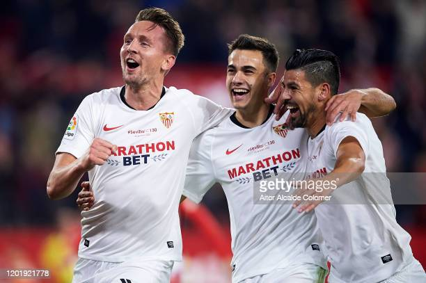 Luuk de Jong of Sevilla FC celebrates after scoring goal with Sergio Reguilon of Sevilla FC during the Liga match between Sevilla FC and Granada CF...