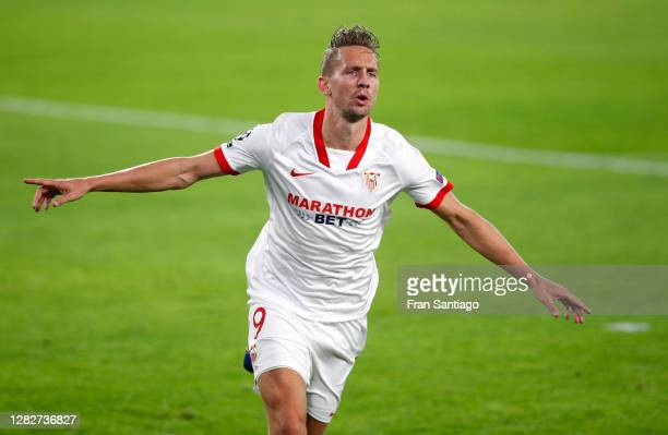 Luuk de Jong of Sevilla FC celebrates after scoring his sides first goal during the UEFA Champions League Group E stage match between FC Sevilla and...