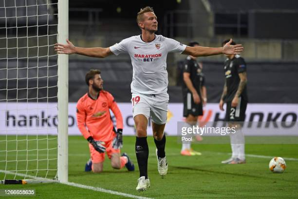 Luuk de Jong of Sevilla FC celebrates after scoring his team's second goal during the UEFA Europa League Semi Final between Sevilla and Manchester...