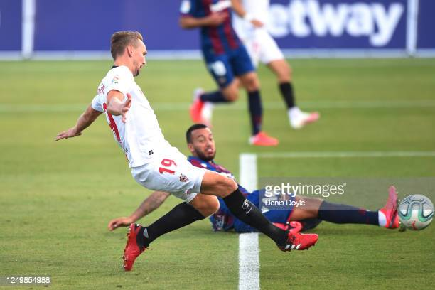 Luuk de Jong of Sevilla scores to make it 10 during the Liga match between Levante UD and Sevilla FC at Estadio Camilo Cano on June 15 2020 in...