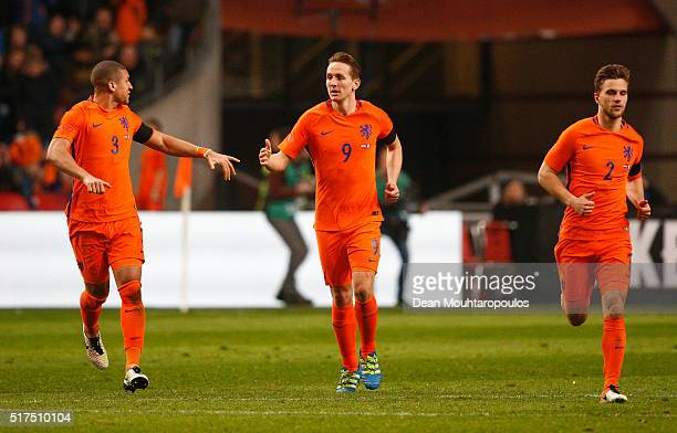 Luuk de Jong of the Netherlands celebrates scoring his team's opening goal during the International Friendly match between Netherlands and France at...