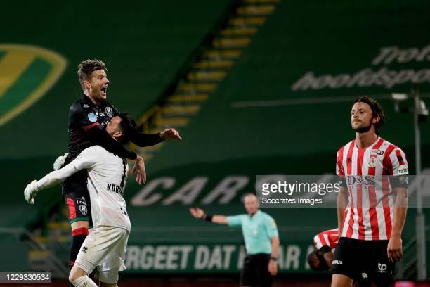 Luuk Koopmans of ADO Den Haag celebrates 1-1 with Michiel Kramer of ADO Den Haag during the Dutch KNVB Beker match between ADO Den Haag v Sparta at...