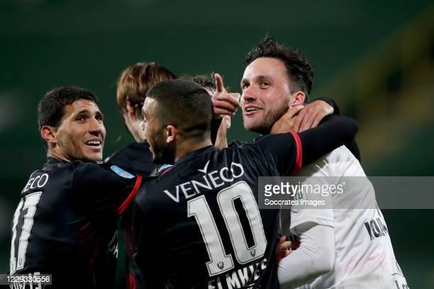 Luuk Koopmans of ADO Den Haag celebrates 1-1 with Nikos Karelis of ADO Den Haag, Ilay Elmkies of ADO Den Haag during the Dutch KNVB Beker match...