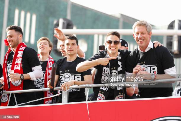 Luuk Koopmans of PSV Hirving Lozano of PSV Santiago Arias of PSV Marcel Brands of PSV leaving the stadium during the champions parade during the PSV...