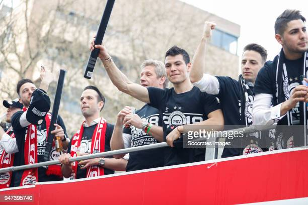 Luuk Koopmans of PSV, Marcel Brands of PSV, Hirving Lozano of PSV, Santiago Arias of PSV, Maximiliano Romero of PSV leaving the stadium during the...