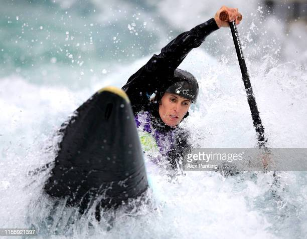 Luuka Jones of Australia competes in the Women's C1 Heats during the 2019 ICF Canoe Slalom World Cup at Lee Valley White Water Centre on June 14 2019...