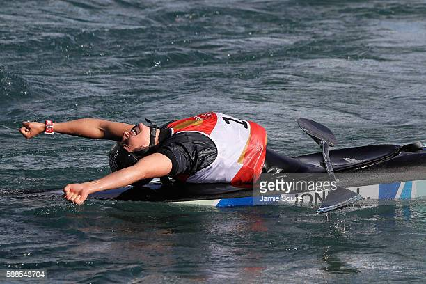 Luuka Jones of New Zealand reacts after crossing the finish line during the Women's Kayak Final on Day 6 of the Rio 2016 Olympics at Whitewater...