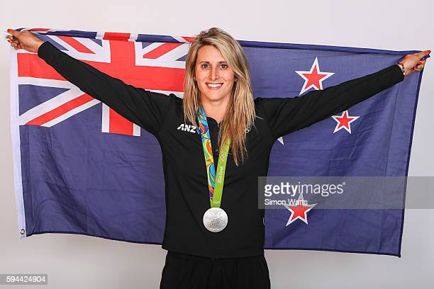 Luuka Jones poses for a portrait with her K100 Canoe Slalom Silver Medal during the New Zealand Olympic Games athlete home coming at Auckland...