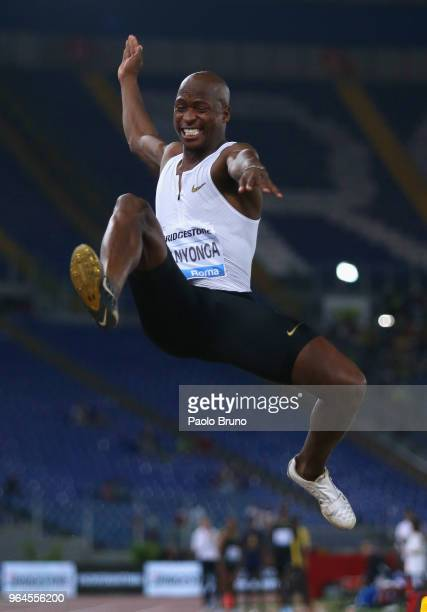 Luvo Manyonga of Republic of South Africa competes in the men's long jump during the IAAF Golden Gala Pietro Mennea at Olimpico Stadium on May 31...