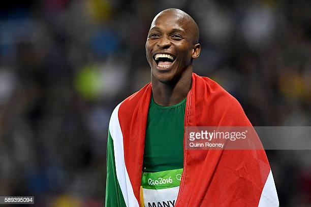 Luvo Manyonga of South Africa celebrates after the Men's Long Jump Final on Day 8 of the Rio 2016 Olympic Games at the Olympic Stadium on August 13...