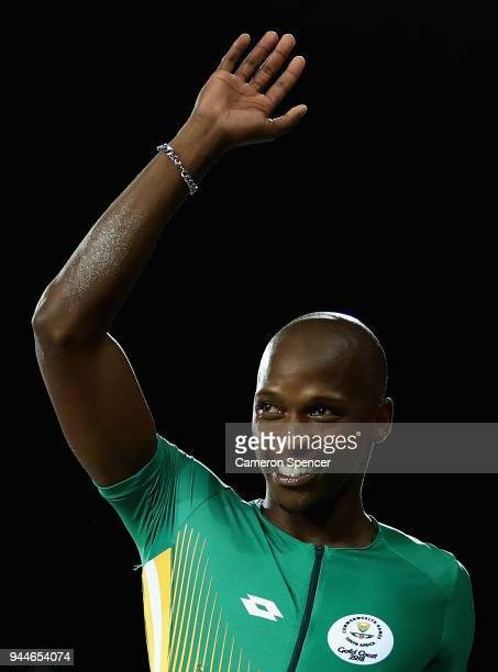 Luvo Manyonga of South Africa celebrates winning gold in the Men's Long Jump final during athletics on day seven of the Gold Coast 2018 Commonwealth...