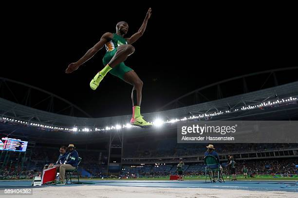 Luvo Manyonga of South Africa competes during the Men's Long Jump Final on Day 8 of the Rio 2016 Olympic Games at the Olympic Stadium on August 13...