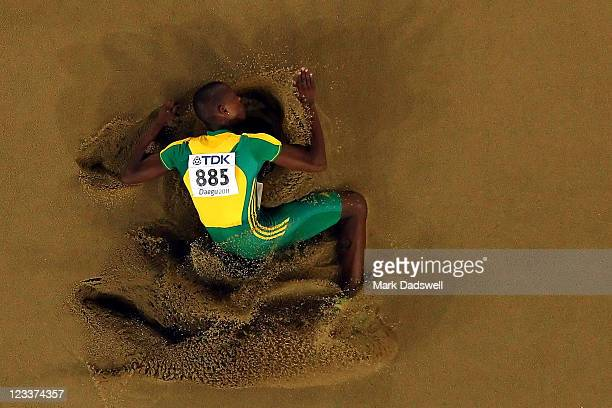 Luvo Manyonga of South Africa competes during the men's long jump final during day seven of 13th IAAF World Athletics Championships at Daegu Stadium...