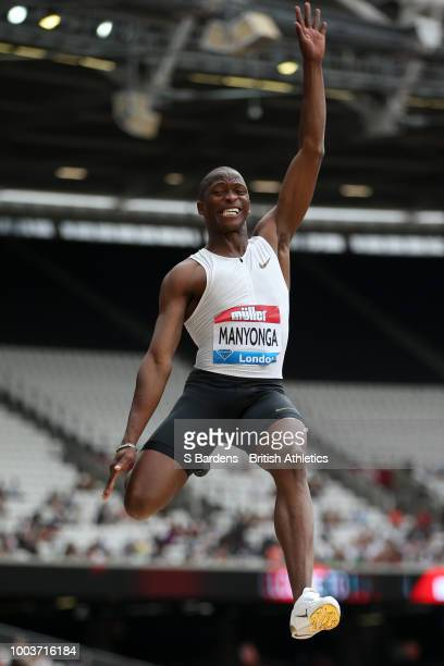 Luvo Manyonga of South Africa competes in Men's Long Jump during Day Two of the Muller Anniversary Games at London Stadium on July 22 2018 in London...