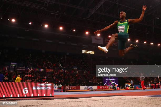 Luvo Manyonga of South Africa competes in the Long Jump Mens Final during the IAAF World Indoor Championships on Day Two at Arena Birmingham on March...