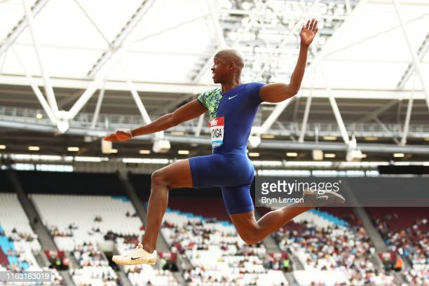 Luvo Manyonga of South Africa competes in the Men's Long Jump during Day One of the Muller Anniversary Games IAAF Diamond League event at the London...